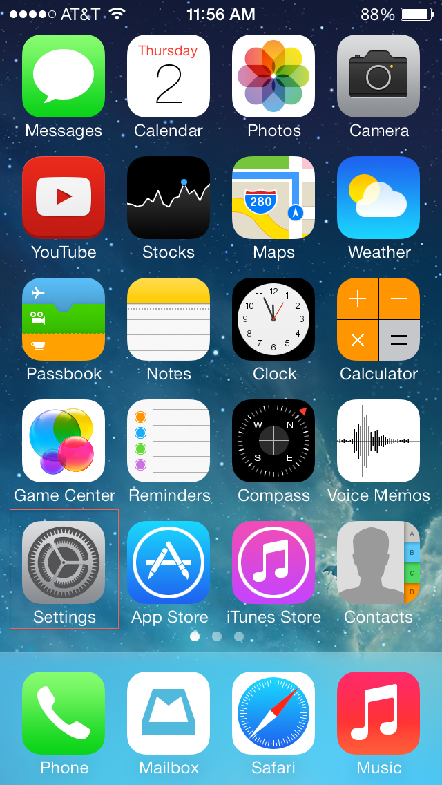 Settings icon on the iPhone homescreen
