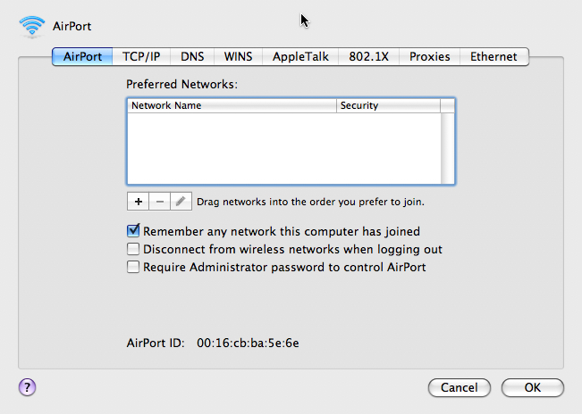 preferred networks tab with empty list.