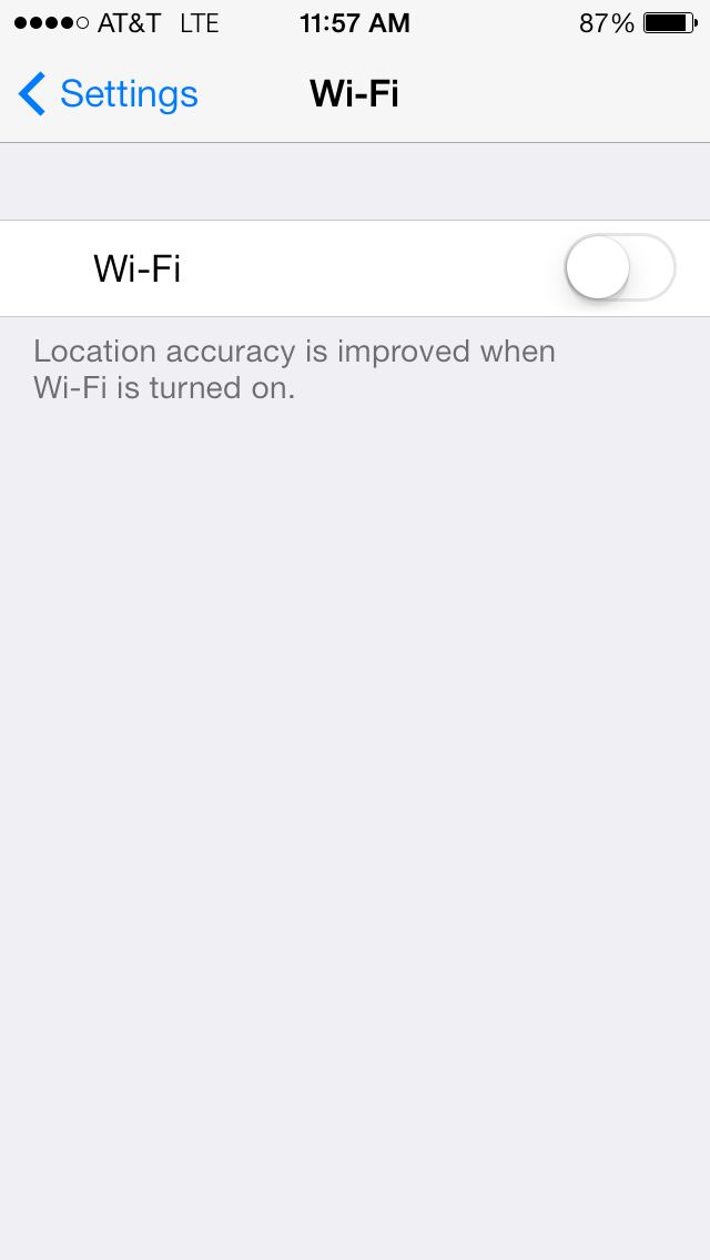 The Wi-Fi on/off switch in settings.