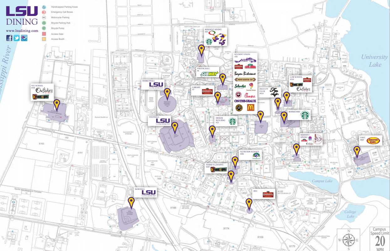 This shows the LSU Dining Campus map