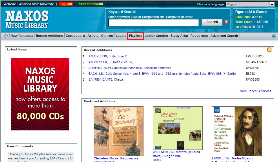 Naxos Music Library Screen Shot with Playlists highlighted.