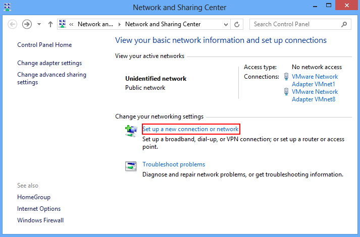 "network and sharing center and option to ""set up new connection or network"""