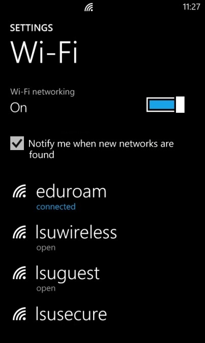 Settings page with Wi-Fi eduroam connected.