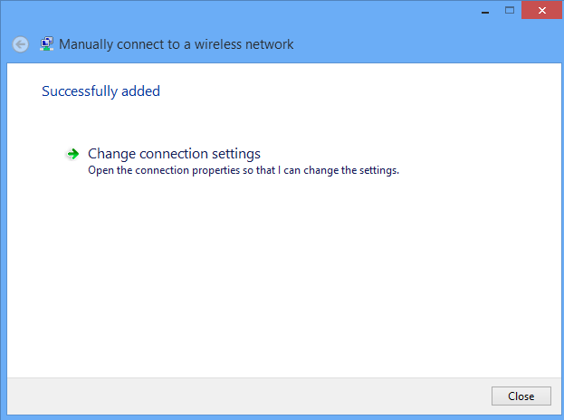 Change Connection Settings window