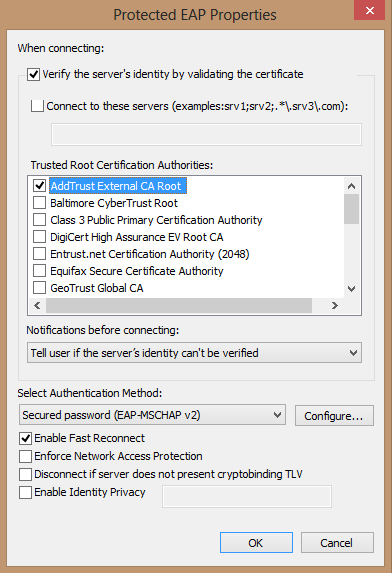 Trusted Certificate Authorites options
