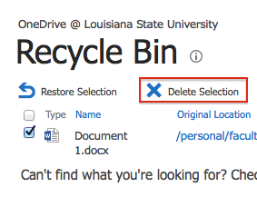 Screen shot of delete selection