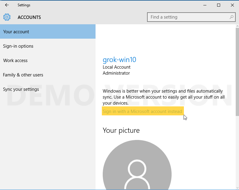 accounts screen with Sign in with a microsoft account instead highlighted.