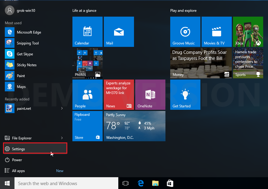 start menu windows 10 with settings highlighted.