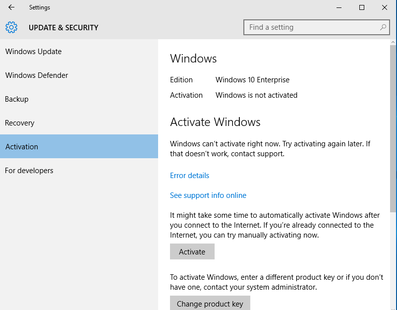 windows 10 activate button on right side