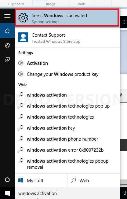 the see if windows is activated screen
