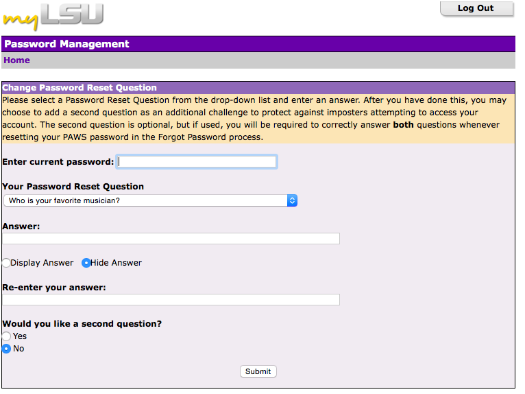 This shows where you select your password reset questions.