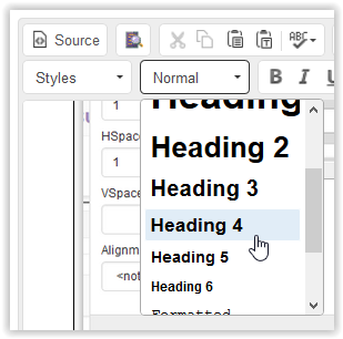 Header 4 in the formatting dropdown