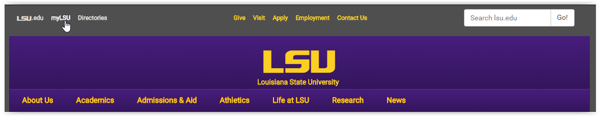 LSU home page navigation bar with my LSU link at top left