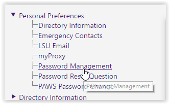 myLSU page with the Password Management option selected under the Personal Preferences tab.