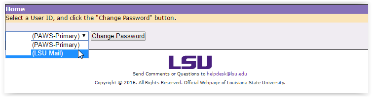 a dropdown menu selecting which account you want to reset the password.