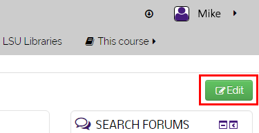Edit button in course page