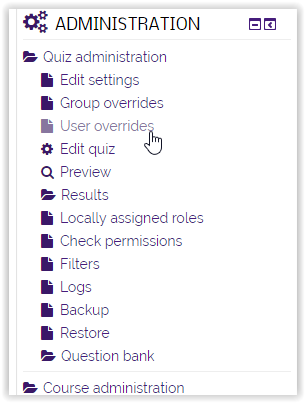 Administration tab/ user overrides