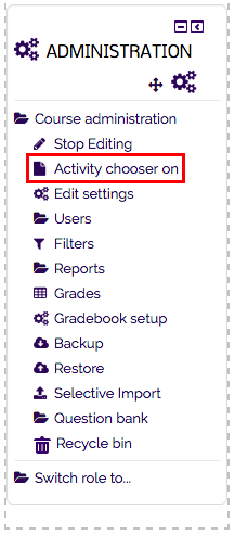 the activity chooser on option.