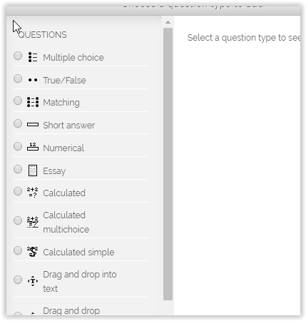 multiple response option on the Choose a Question Type window.