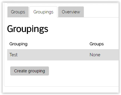 List of created grouping for the course.