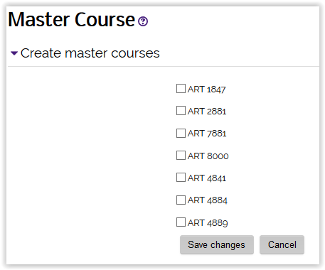Master Course request page with a list of courses