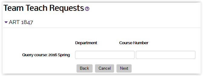 department ID and course number text boxes