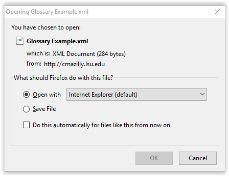 window used to choose how to export glossary files