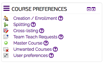 Course preferences system block
