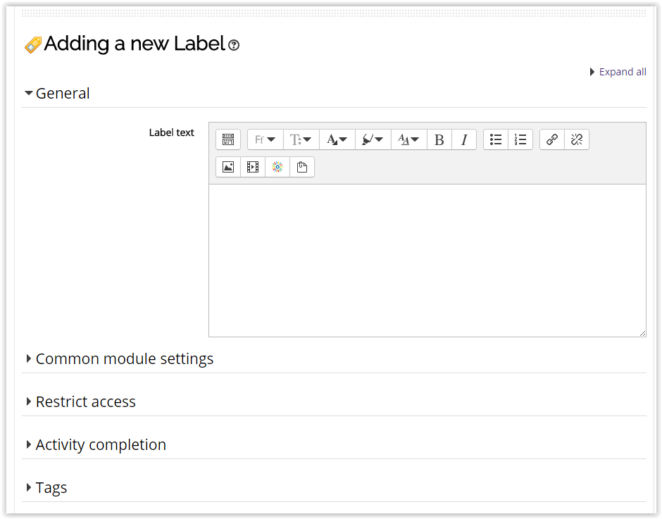 label text area for the label addition to moodle