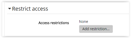 restrict access setting for adding a label to moodle
