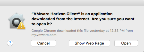 horizon client security prompt