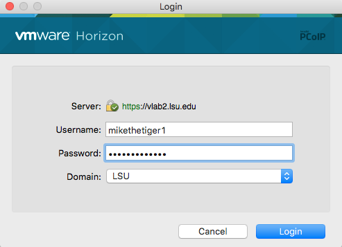 dialog box to enter myL S U ID and Password