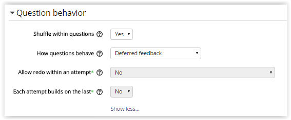 Quiz Question Behavior settings on Moodle