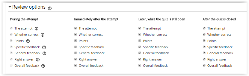 Review options for a Moodle Quiz