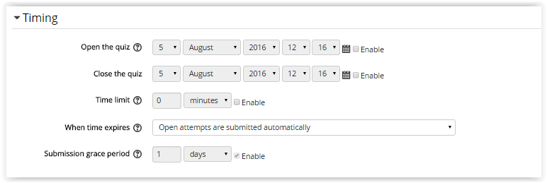 Moodle Quiz Timing settings