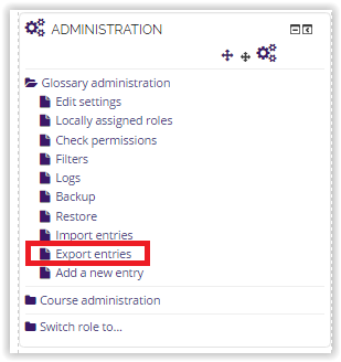 export entries button under the administration tab.