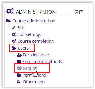 groups link under the users folder on the administration block