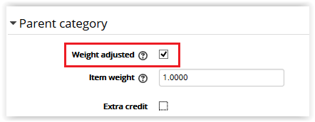Weight Adjusted checkbox under parent category