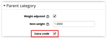 Extra Credit checkbox under parent category