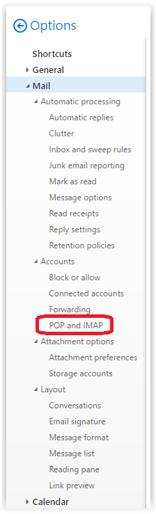 Settings for POP or IMAP access.
