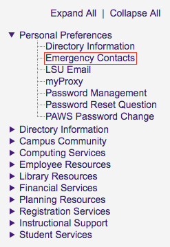 myLSU Emergency Contacts link