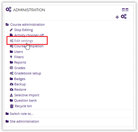 edit settings button on the administration block