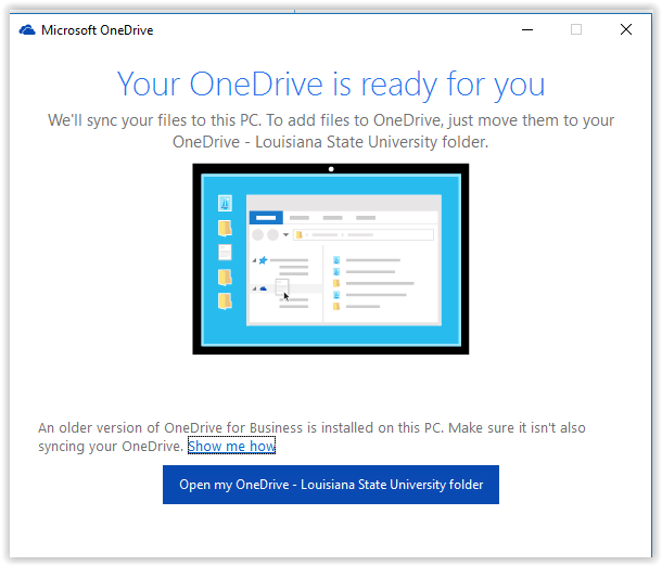 opening onedrive after syncing