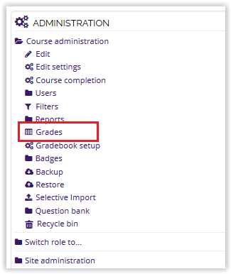 Grades option on the Administration block