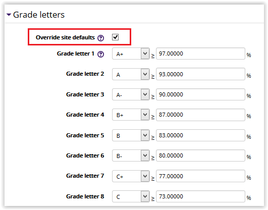 Moodle 3 How to Create Custom Grade Scales Letter Grade GROK
