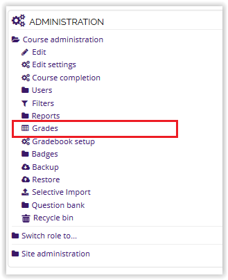 Grades on the administration block on Moodle