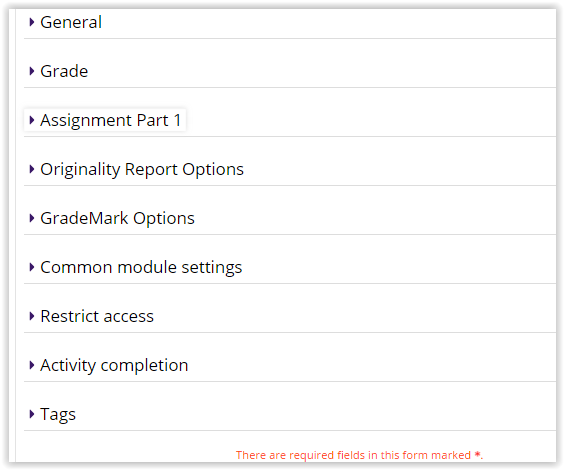 Turnitin Settings sections