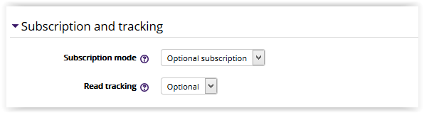 Subscription and Tracking settings.