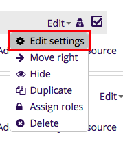 Edit option with Edit settings selected in dropdown menu