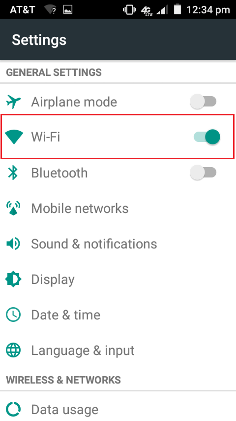 Wifi options under settings